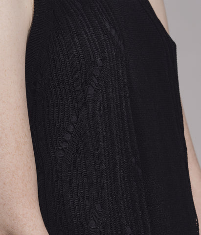 Crew Neck Racer Sleeve Knitted Black Dress 'Carina'