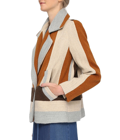 Brown Striped Woolen Blazer 'Daria Jacket'