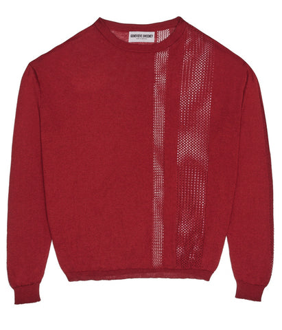 Crew Neck Slouch Pointelle Stripe Red Jumper