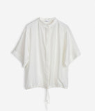 Drawstring Silk Shirt Off-White