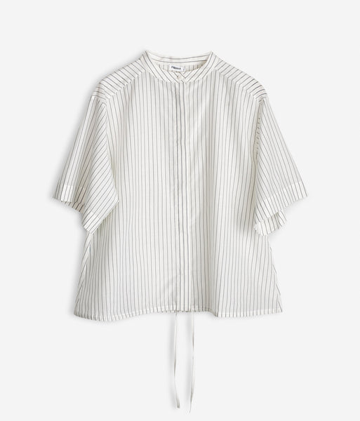 Drawstring Stripe Shirt Off-White & Navy
