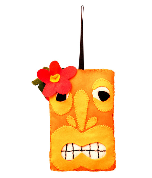 Orange Tiki head Felt Christmas Decoration