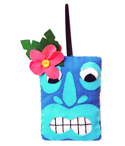 Blue Tiki head Felt Christmas Decoration