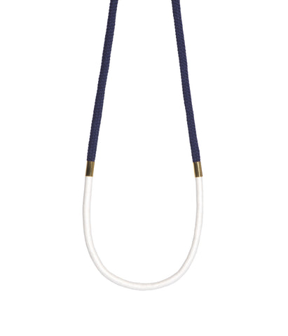Long Two Colour Necklace Navy White Gold