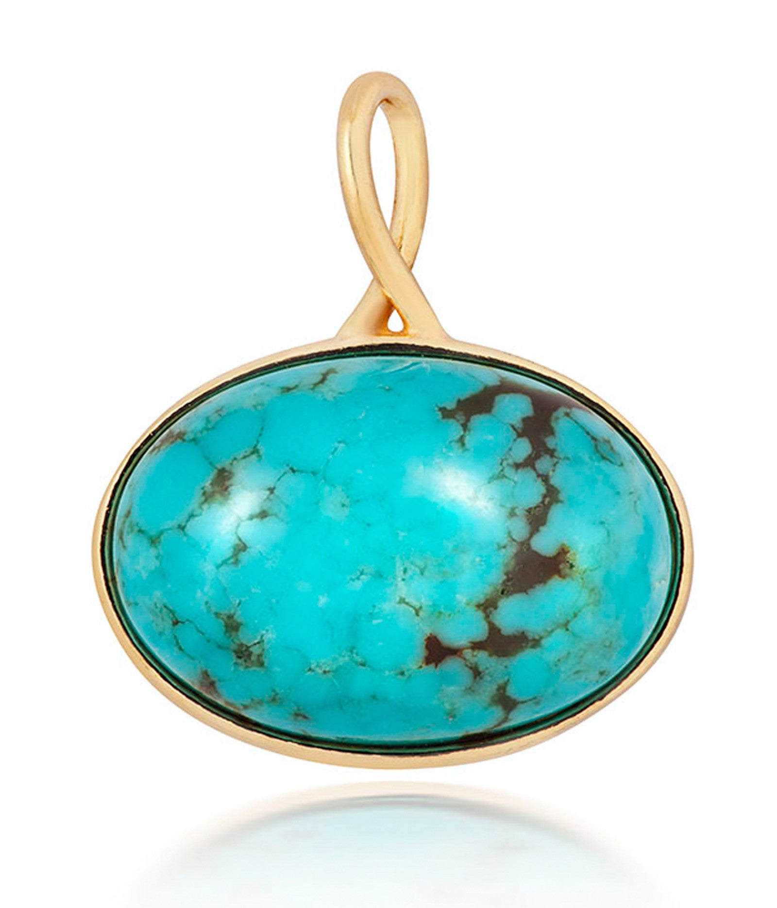 Gold Cabochon Turquoise Oval Charm- Free Spirt