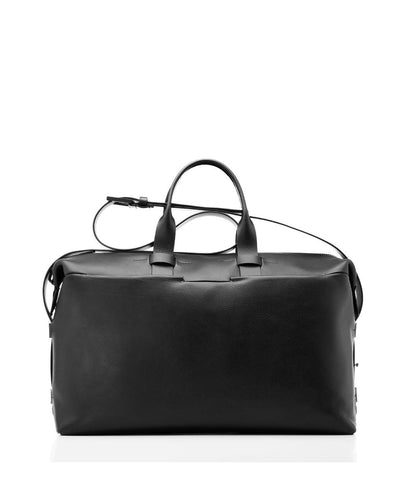 Black Italian Leather Weekender Bag
