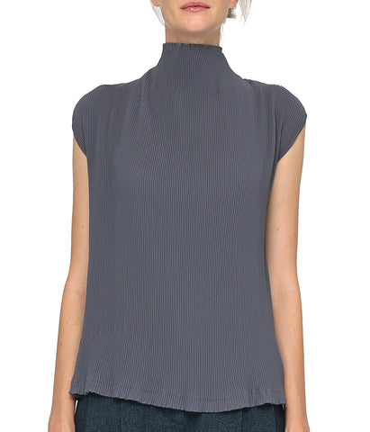 High Neck Cap Sleeved Grey Top 'Lupo '