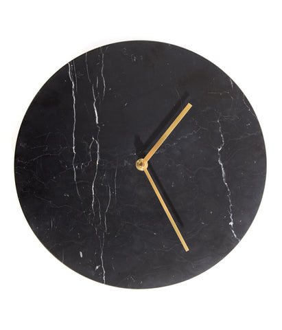 Black Marble Clock 30cm Diameter