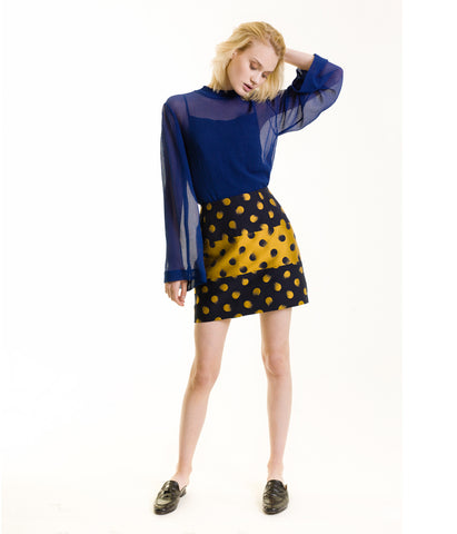 Brush Dots Bee Mini Skirt Navy & Gold Nastya