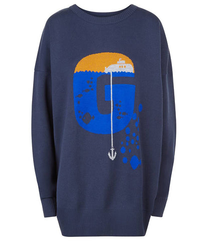 Crewneck Oversized Navy Jumper