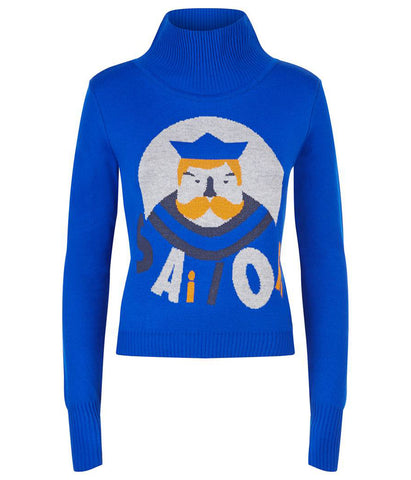 Ocean Blue Turtleneck Captain Jumper