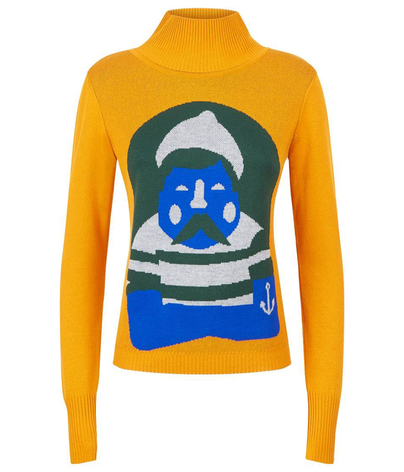 Turtleneck Fisherman Jaquard Jumper Saffron