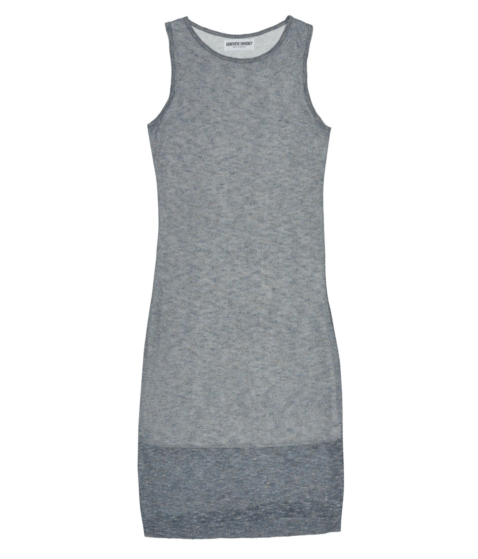 Racer Knitted Linen Dress Blue/Grey