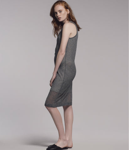 Racer Knitted Linen Dress Blue/Grey 'Elsya'