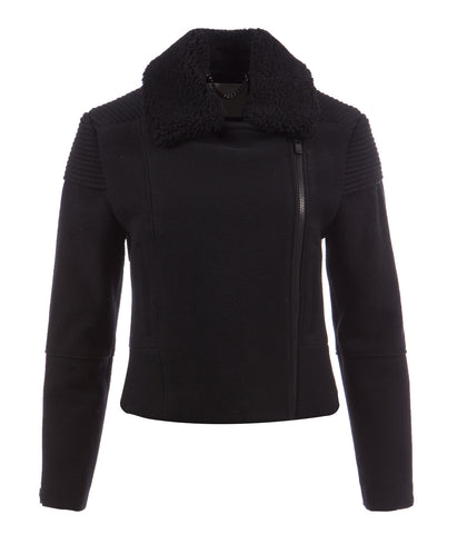 Black Wool Biker women's Jacket 'Crystal Ridge'