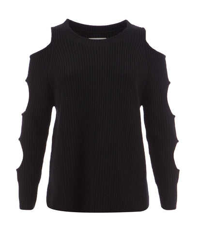 Black Ribbed Cashmere blend women's Jumper 'Galileo Jumper'