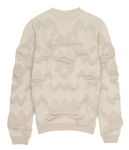 Cream Crew Neck Textured Jumper 'Agnes'