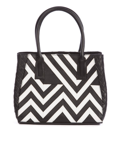 Chevron Black & White Leather Tote