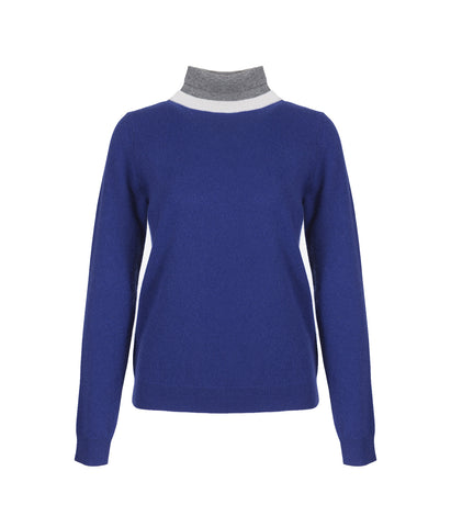 100% Cashmere Blue Turtleneck 'Lion'