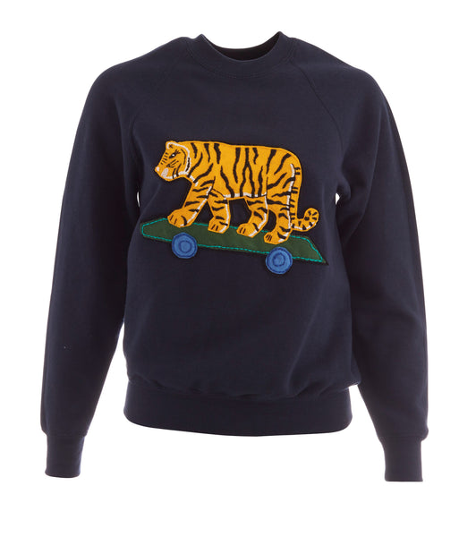 Embroidered Tiger Navy Patch Sweatshirt