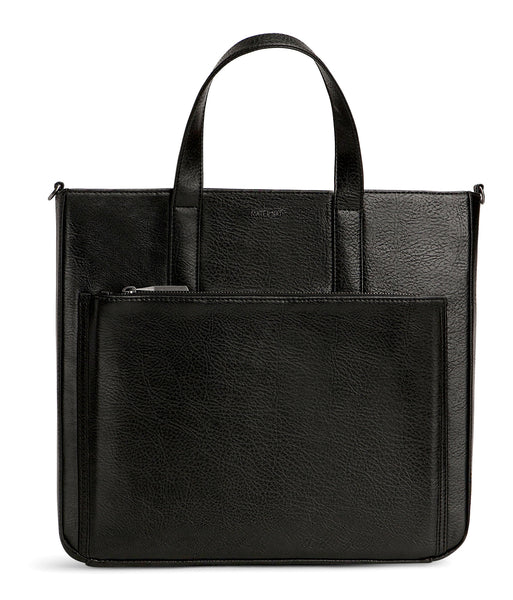 Black Vegan Leather Briefcase 'Junji'