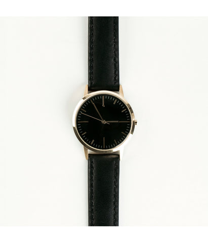 Black Leather Swiss Ronda Gold Watch