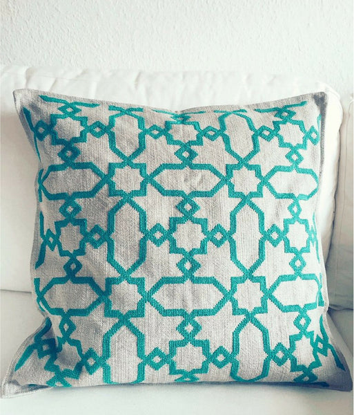 Marrakech Green Geometric Koutubia Cushion