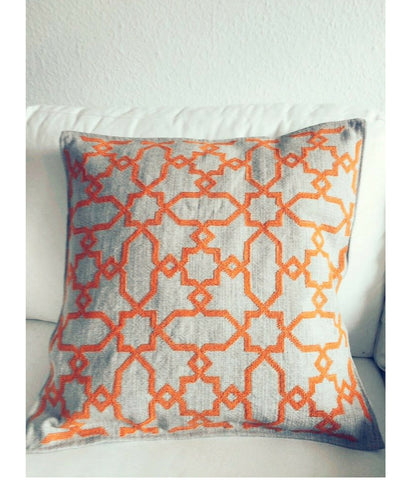 Marrakech Orange Geometric Koutubia Cushion