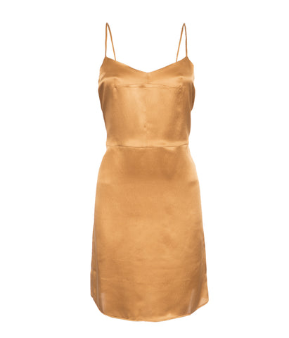 Beanie Silk Slip Dress in Gold by Marina London
