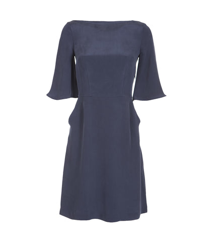 Blue Silk longsleeved dress 'Ines'