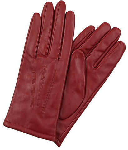 Deep Red Leather Gloves