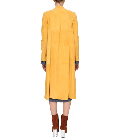 Yellow Suede Patched Coat