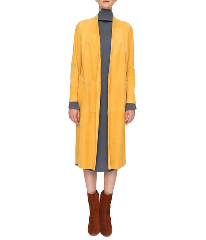 Yellow Suede Patched Coat 'Nord Coat'