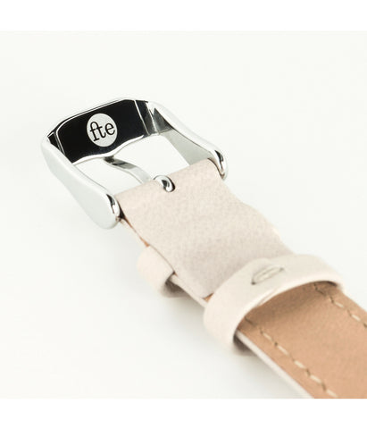 Cream Leather Swiss Ronda Silver Watch