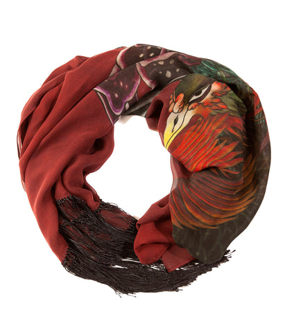 Chiffon Silk Red Phoenix Tassled Shawl