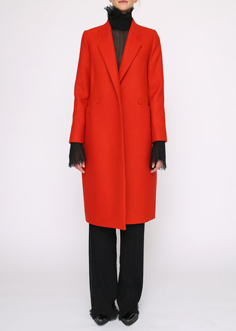 Tailored Orange Wool Long Coat 'Poppy'