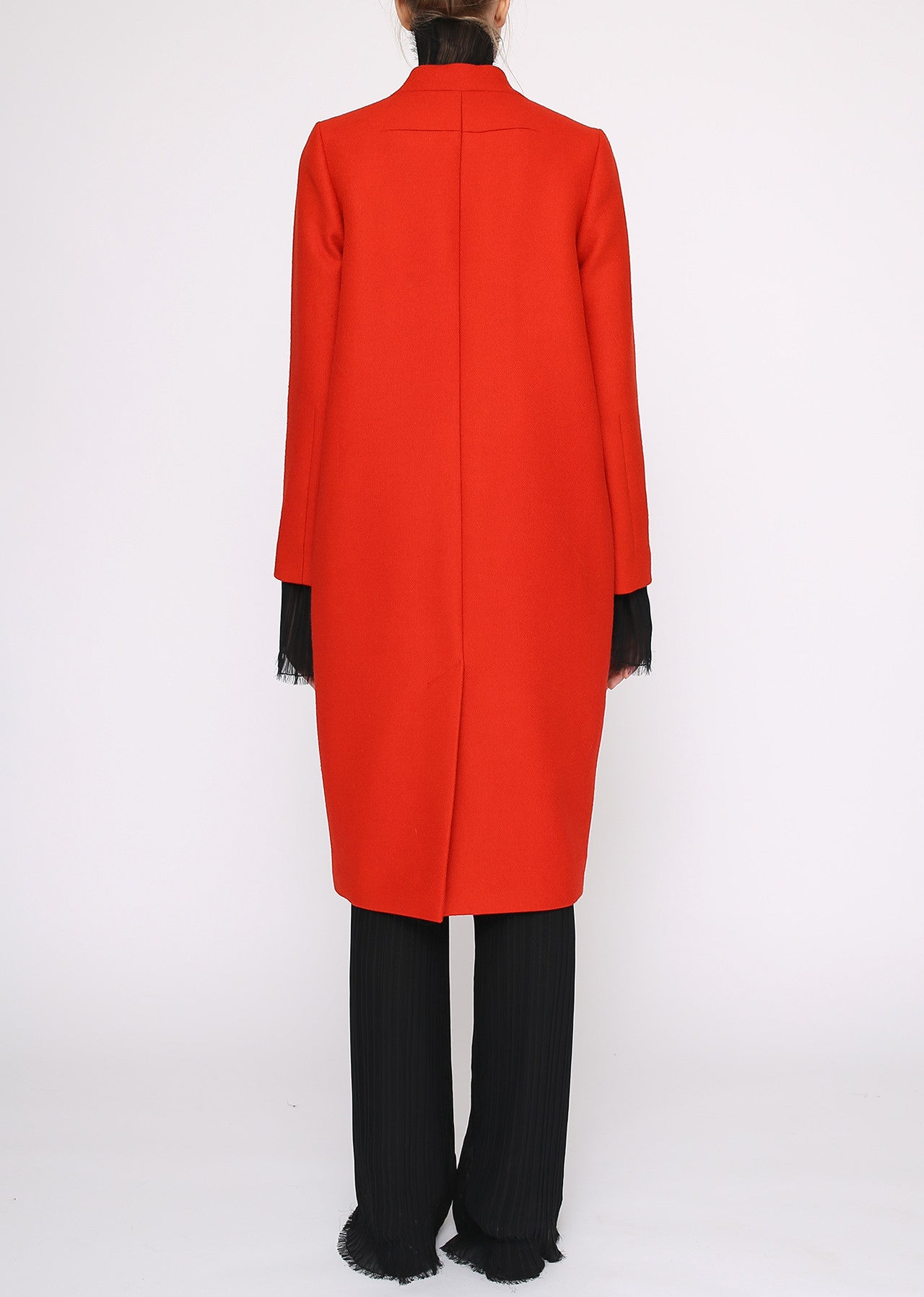 Tailored Orange Wool Long Coat