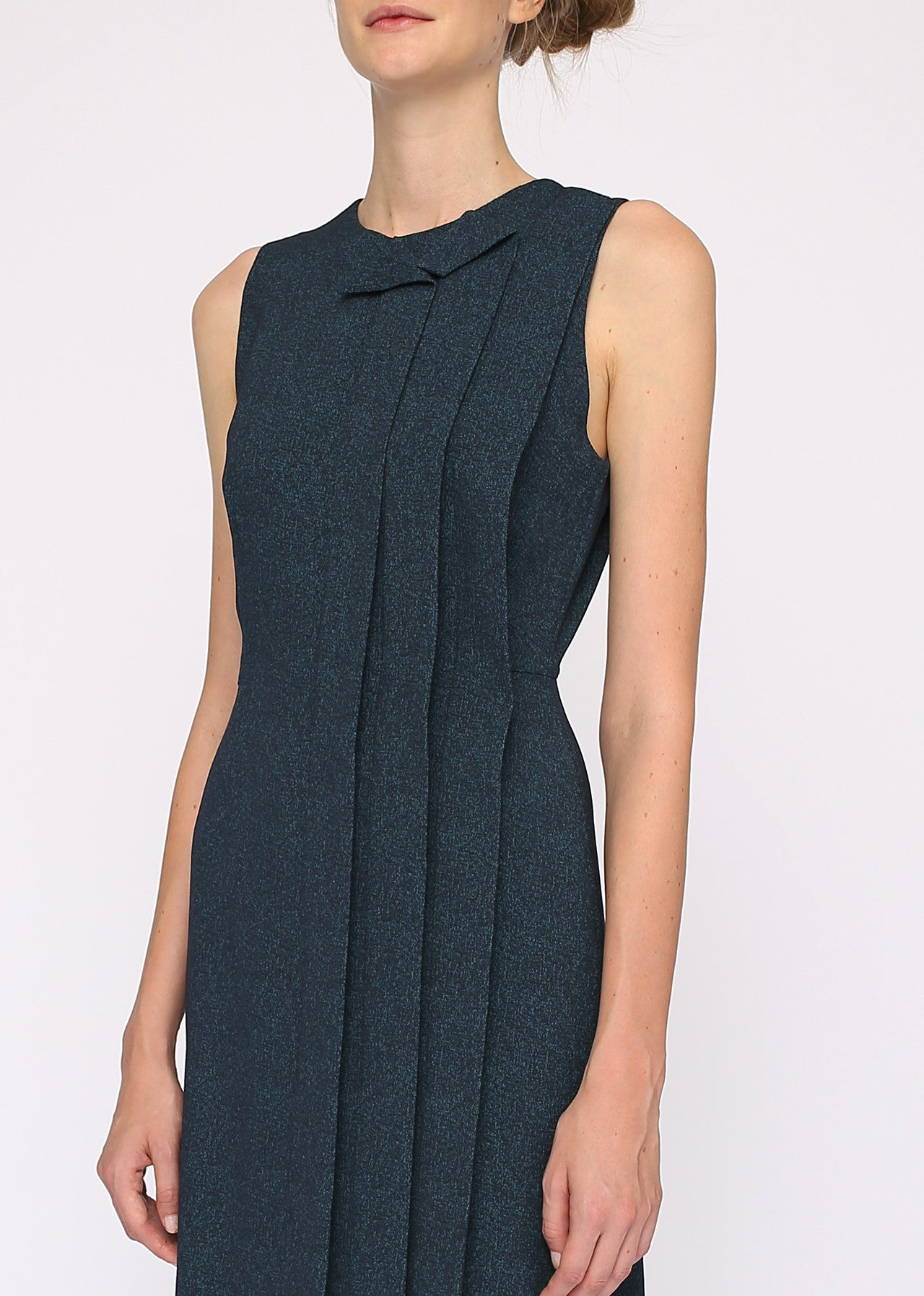 Pleated Blue Sleeveless Dress