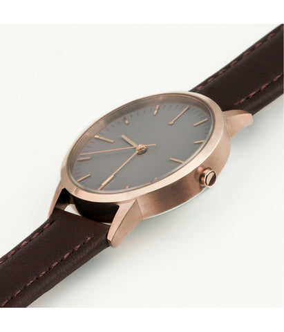 Brown Leather Swiss Ronda Rose Gold Watch