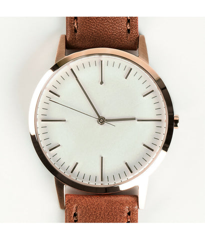 Tan Leather Swiss Ronda Rose Gold Watch