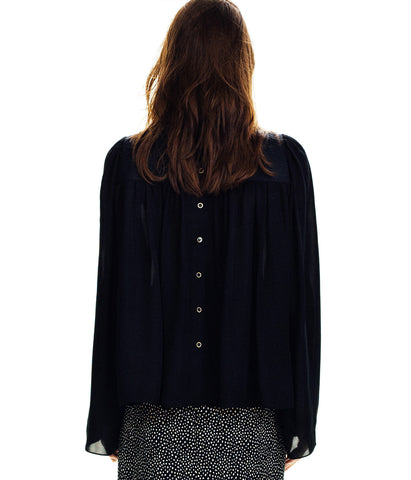 Ruffled Silk Black Lace Blouse