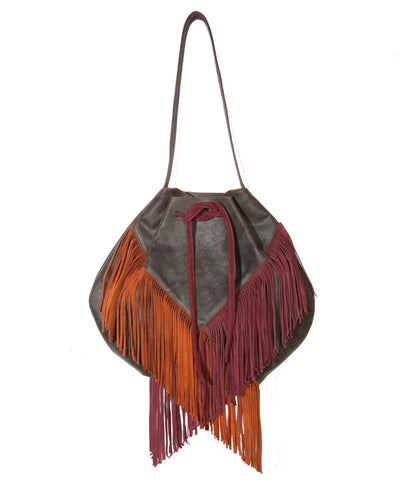 Fringed Black & Red Suede Shoulder Bag