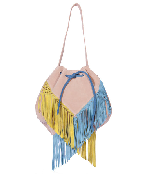 Pink, Yellow & Blue Fringe Suede Bag