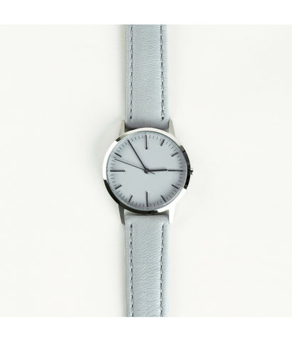 Grey Leather Swiss Ronda Silver Watch