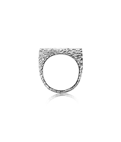 Textured Single Silver Ring