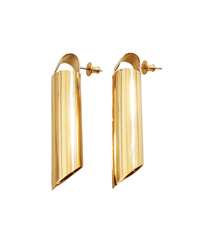 Tall Tube Gold Plated Earrings