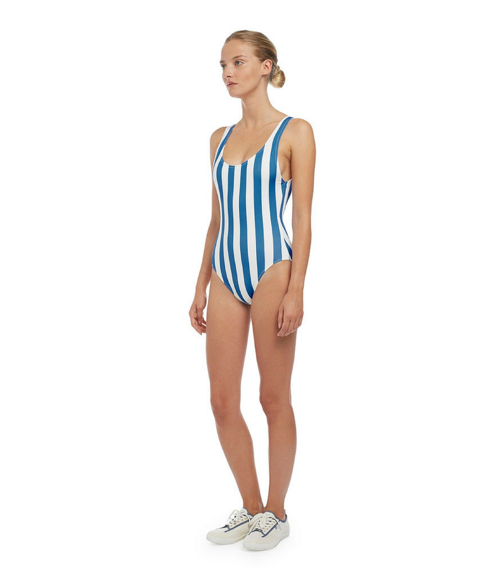 One-Piece Blue Cream Stripe Swimsuit The Anne-Marie