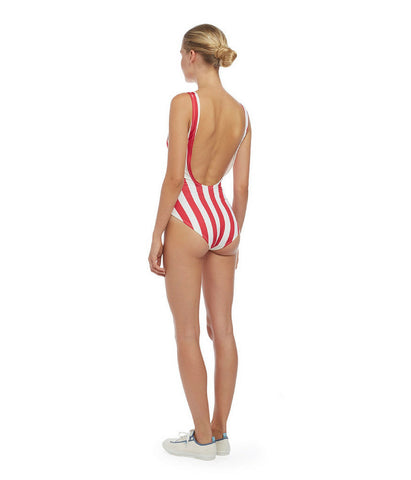 One-Piece Rasberry Cream Stripe Swimsuit The Anne-Marie