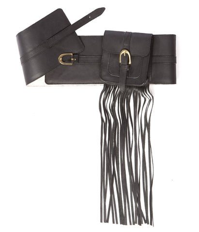 Wide Corset Purse Belt Black