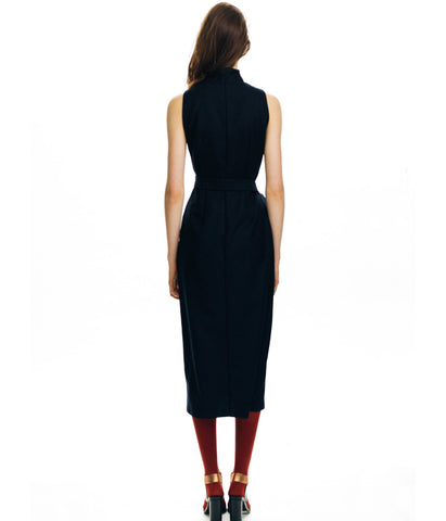 Sleeveless Pencil Cut Navy Wool Dress